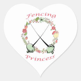 Fencing Princess Floral Foils Heart Sticker
