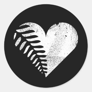 Fern Heart Dark Round Sticker