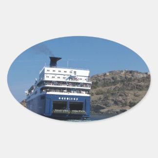 Ferry Docking Oval Sticker