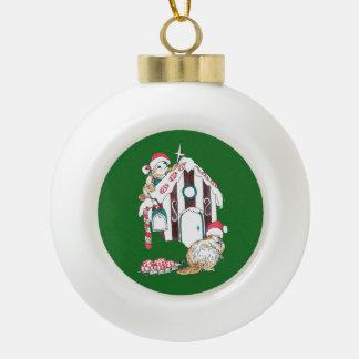 Festive Christmas Beaver Decorating Chalet Ceramic Ball Decoration