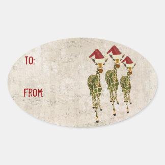 Festive Golden Giraffes Gift Sticker