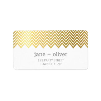 FESTIVE LABEL modern chevron pattern gold foil Address Label