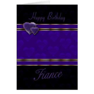 fiance birthday card modern design, purple and bla