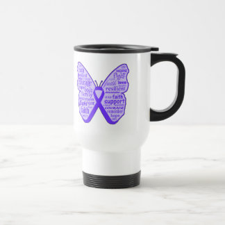 Fibromyalgia Awareness Butterfly Ribbon Stainless Steel Travel Mug
