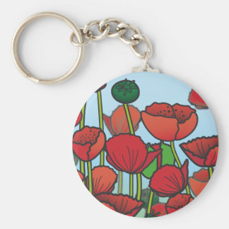 Field of red Poppy flowers Basic Round Button Key Ring