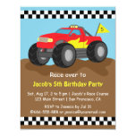 Fiery Red Monster Truck Birthday Party 11 Cm X 14 Cm Invitation Card