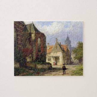 Figure before a Redbrick Church in a Dutch Town (o Jigsaw Puzzle