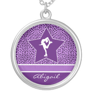Figure Skater w/ Purple Cheetah Print and Monogram Round Pendant Necklace