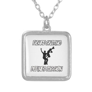 figure skating designs square pendant necklace