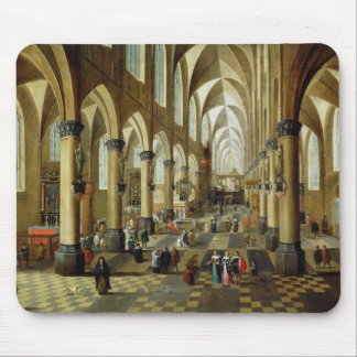 Figures gathered in a Church Interior Mouse Pad