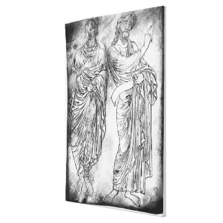 Figures of two apostles or prophets stretched canvas print