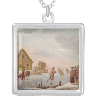 Figures Skating in a Winter Landscape Square Pendant Necklace