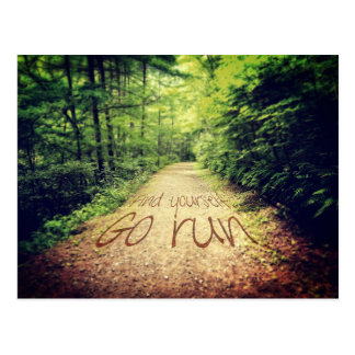 Find Yourself Go Run Inspirational Runners Quote Postcard