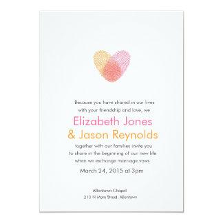 Fingerprint Heart Wedding Invitation