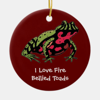 Fire Bellied Toad Love (customizable) Round Ceramic Decoration
