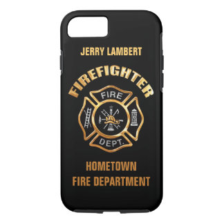 Fire Department Gold Name Template iPhone 7 Case