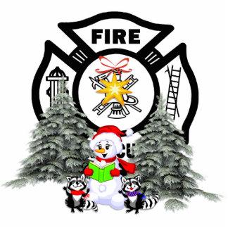 Fire Dept Christmas Scene Photo Sculpture Decoration