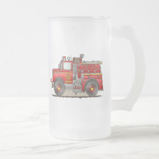 Fire Pumper Rescue Truck Frosted Glass Mug