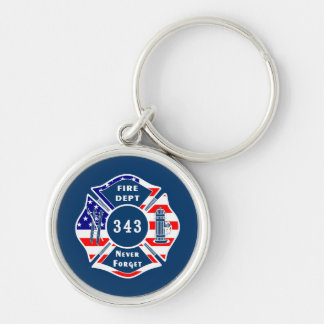 Firefighter 9/11 Never Forget 343 Silver-Colored Round Key Ring