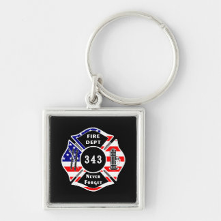Firefighter 9/11 Never Forget 343 Silver-Colored Square Key Ring
