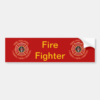 Firefighter Maltese Cross Veteran Bumper Sticker