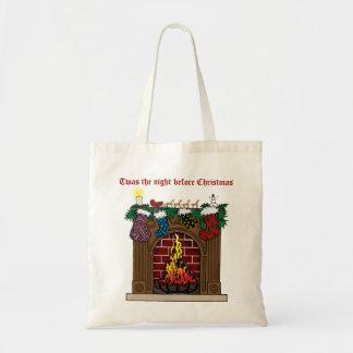 Fireplace on Christmas Eve Budget Tote Bag