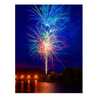 Fireworks on the river postcard