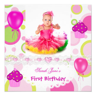First Birthday 1st Girl Cupcakes Pink Balloons 13 Cm X 13 Cm Square Invitation Card