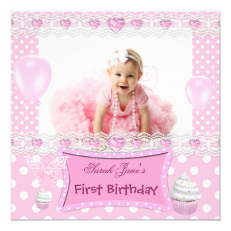 First Birthday 1st Girl Pink Baby Polka Dots 13 Cm X 13 Cm Square Invitation Card