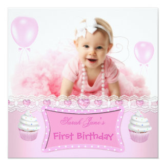First Birthday 1st Girl Pink Cupcakes Baby 2 13 Cm X 13 Cm Square Invitation Card