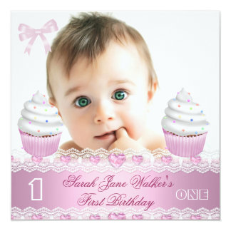 First Birthday 1st Girl White Pink Cupcake Baby 3 13 Cm X 13 Cm Square Invitation Card