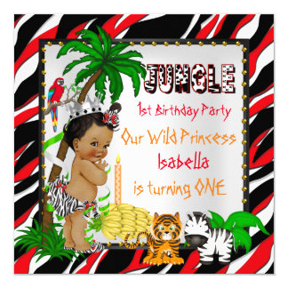 First Birthday Jungle Safari Wild Princess Ethnic 13 Cm X 13 Cm Square Invitation Card