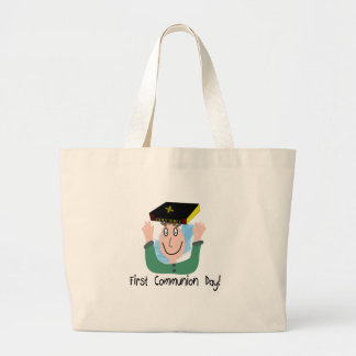 "First Communion Day~~""Boy With Bible"" Jumbo Tote Bag"