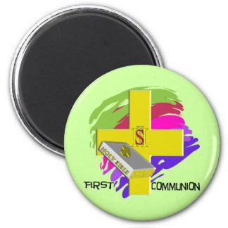 First Communion GOLD CROSS Design 6 Cm Round Magnet