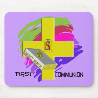 First Communion GOLD CROSS Design Mouse Pad