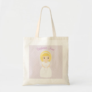 First Holy Communion Blonde Girl Budget Tote Bag