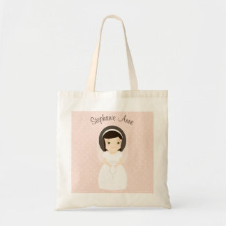 First Holy Communion Brunette Girl Budget Tote Bag