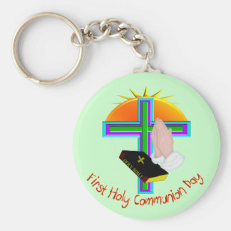 First Holy Communion Day Gifts Basic Round Button Key Ring