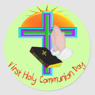 First Holy Communion Day Gifts Round Sticker
