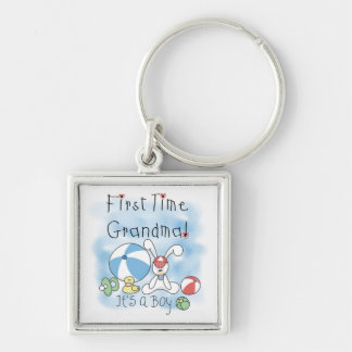 First Time Grandma of Boy Gifts Silver-Colored Square Key Ring
