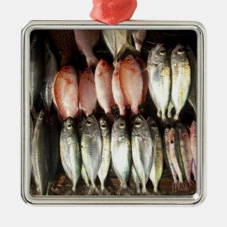 Fish at market, town of Kalabahi, Alor Island, 2 Silver-Colored Square Decoration