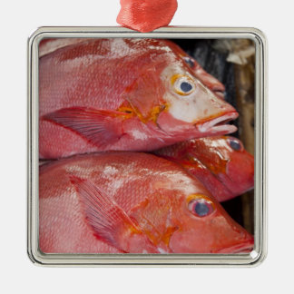 Fish at market, town of Kalabahi, Alor Island, Silver-Colored Square Decoration