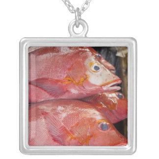Fish at market, town of Kalabahi, Alor Island, Square Pendant Necklace