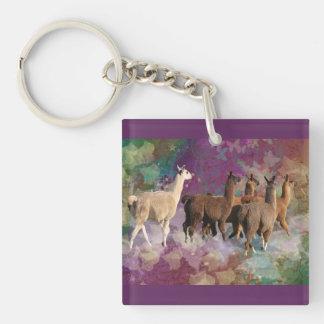 Five Llama Cloud Walk Fantasy White & Brown LLamas Single-Sided Square Acrylic Key Ring