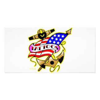 Flag Anchor Tattoo Photo Card Template