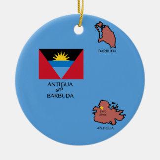 Flag and Map of Antigua and Barbuda Round Ceramic Decoration