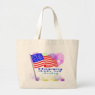 Flag Fireworks 4th of July Jumbo Tote Bag