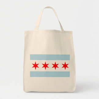 Flag of Chicago Organic Grocery Tote Grocery Tote Bag