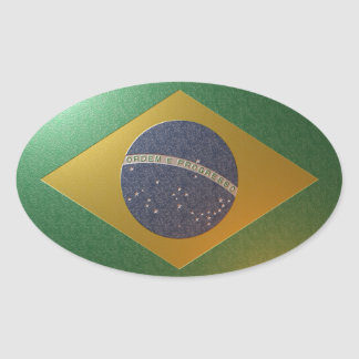 Flag of Metallized Brazil Oval Sticker