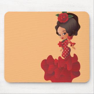 Flamenco cartoon chibi kawaii girl mouse pad
